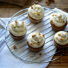 Pumpkin Cake Cupcakes with Maple Cream Cheese Frosting