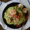 Garlic Shrimp with Cilantro Pesto Pasta