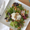 Poached Egg & Roasted Cannellinis Salad with Anchovy Dressing