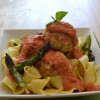 Chicken and Asparagus Meatballs with Tomato Cream Sauce