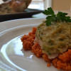 White Bean & Herb Crusted Chicken with Roasted Red Pepper Quinoa