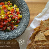 Four Pepper and Corn Salsa with Baked Chili-Lime Tortilla Chips