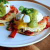 Fajita Vegetable Quesadillas with Poached Eggs and Avocado Hollandaise #brunchweek