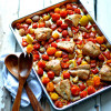 Tray-Baked Balsamic Chicken with Peppers, Tomatoes, and Onions