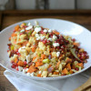 Warm Sweet Potato, Bacon, and Leek Salad with Cheddar Biscuit Breadcrumbs