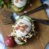 #BrunchWeek Carnitas Eggs Benedict with Chipotle Crema in Avocado Halves