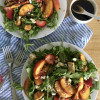 Peach, Strawberry, and Arugula Salad with Brown Sugar Balsamic Vinaigrette