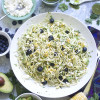 Avocado, Blueberry, Charred Corn Pasta Salad with Zucchini Noodles