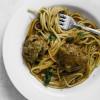 Pressure Cooker Spaghetti and Mushroom Loaded Meatballs
