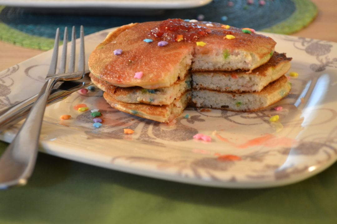 Kate's Corner – Funfetti Pancakes with Strawberry Preserves