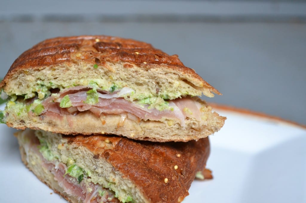 Pea and Goat Cheese Pesto & Prosciutto Panini