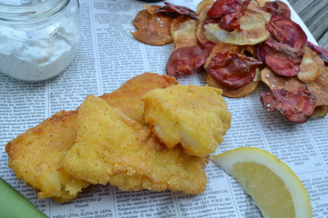 Cornmeal crusted fish chips for Cornmeal fried fish