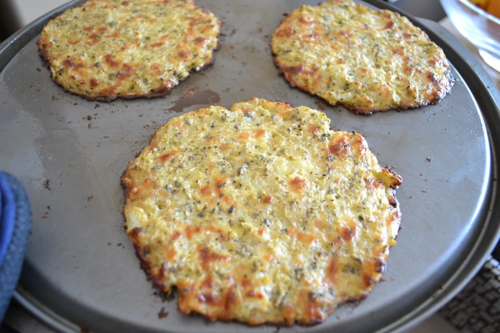 Cauliflower Crusted Pizza on a pan