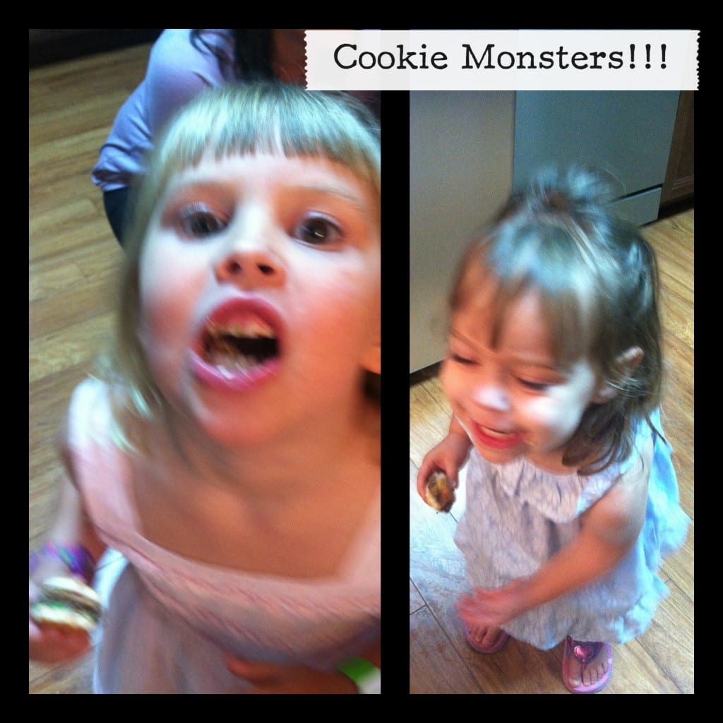 Pictures of a little girl eating a hamburger cookie
