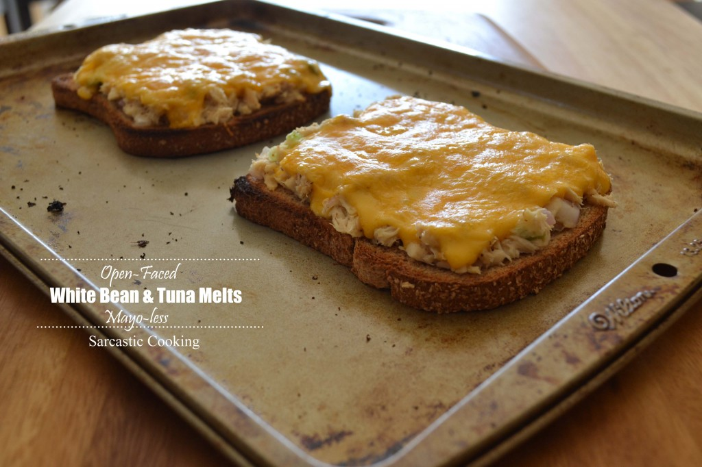 Open-Faced Mayo-less White Bean & Tuna Melts - Sarcastic Cooking