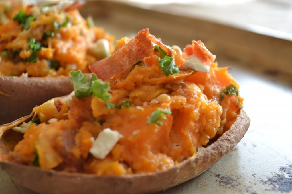 Twice Baked Loaded Sweet Potato - Sarcastic Cooking