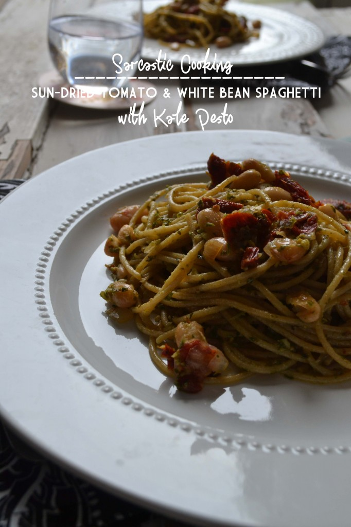Sun-Dried Tomato & White Bean Spaghetti with Kale Pesto - Sarcastic Cooking
