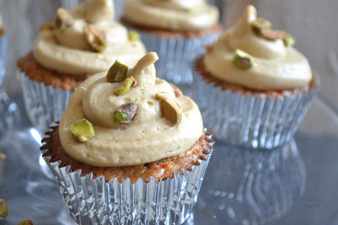 Pistachio Carrot Cake Cupcakes with Brown Sugar-Cream ...