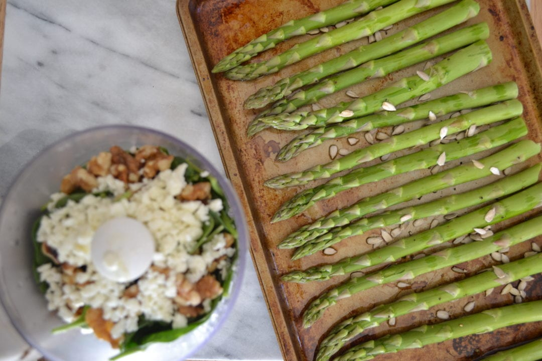 Roasted Asparagus and Sunflower Seeds with Spinach-Walnut Pesto