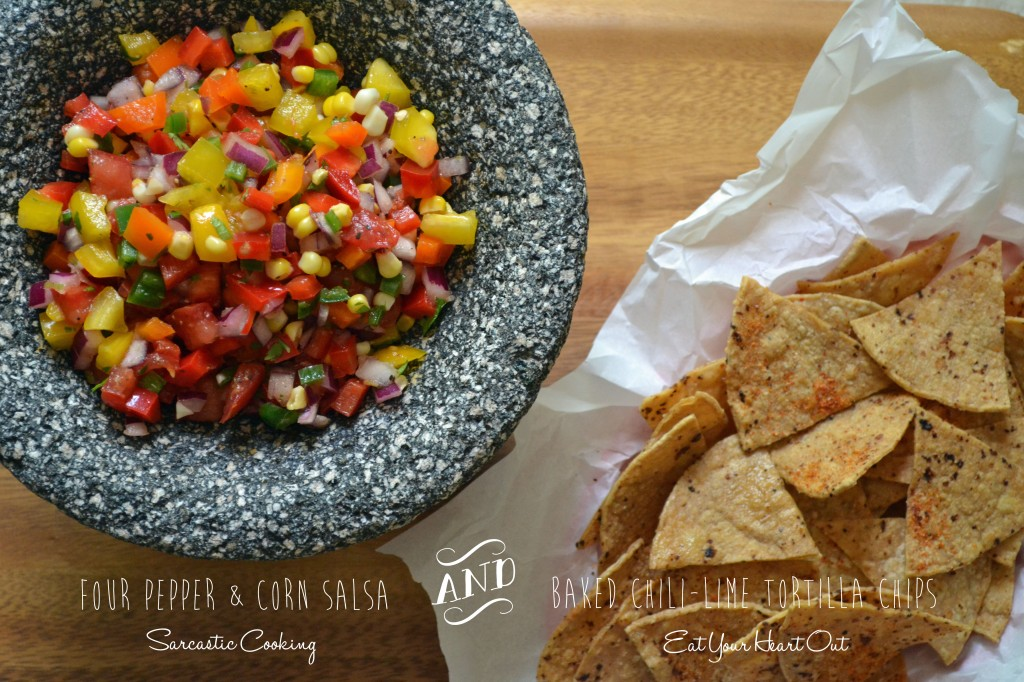 Four Pepper and Corn Salsa with Chili Lime Tortilla Chips - Sarcastic Cooking