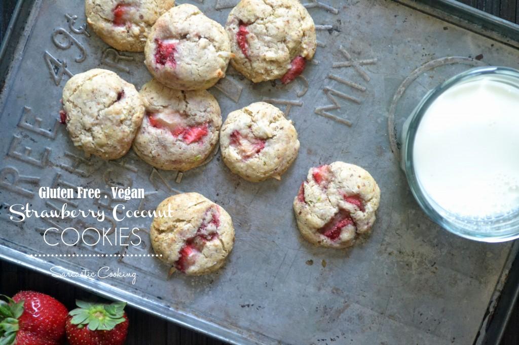 Gluten Free Vegan Strawberry Coconut Cookies - Sar