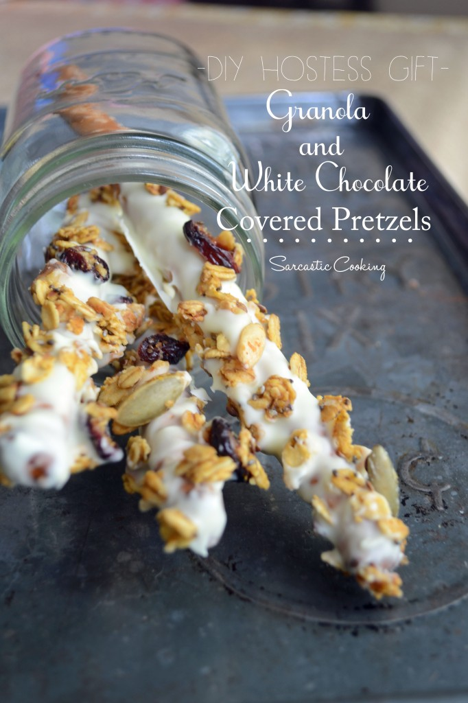 DIY Hostess Gift: Granola and White Chocolate Covered Pretzel Rods
