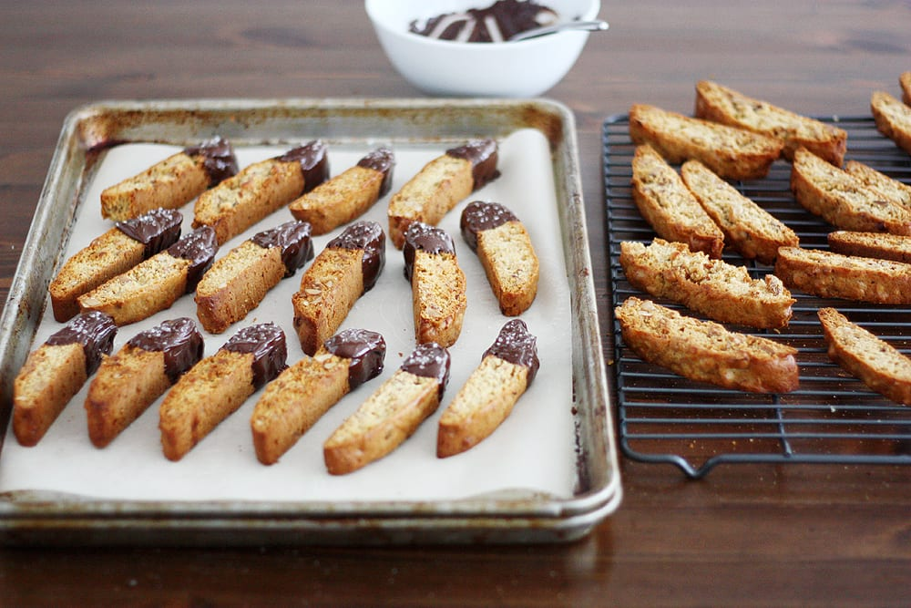 Salted Dark Chocolate Honey Biscotti