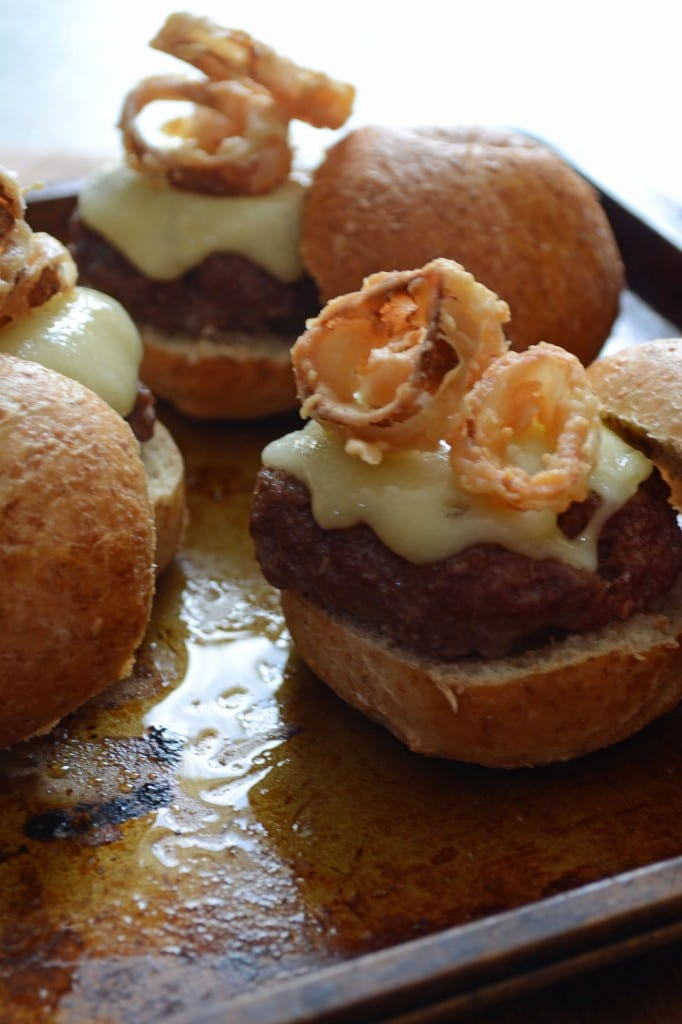 MINI SWISS BURGERS WITH CRISPY SHALLOTS