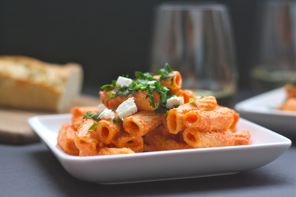 Rigatoni with Creamy Red Pepper Feta Sauce