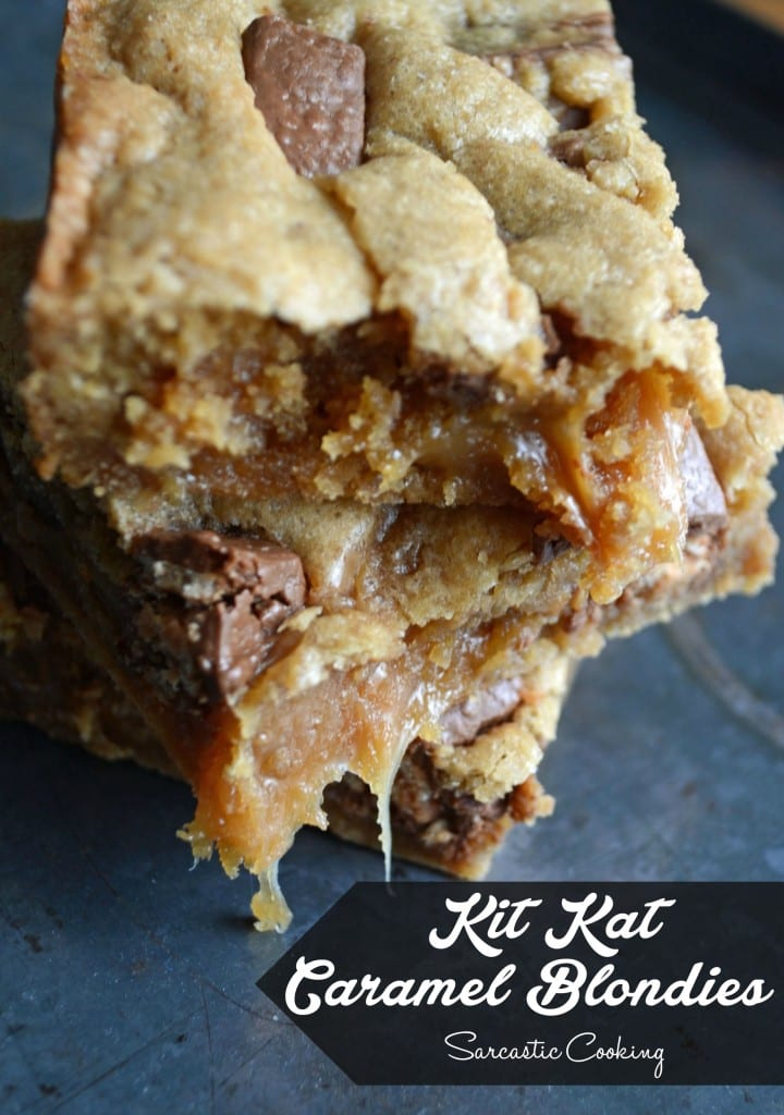 Kit Kat Caramel Blondies | Sarcastic Cooking