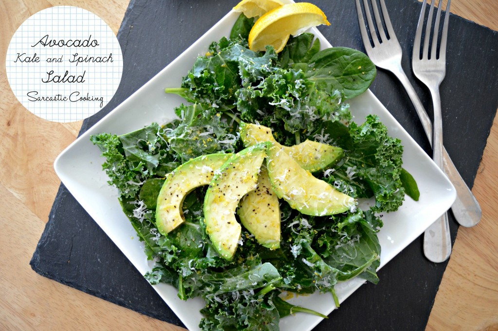 Avocado, Kale, and Spinach Salad | Sarcastic Cooking