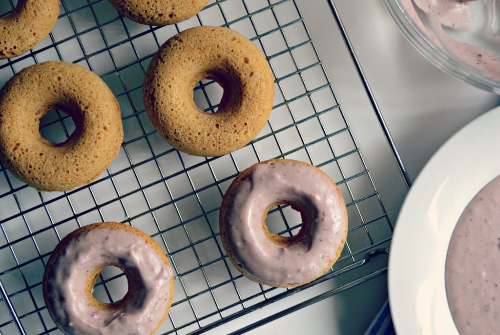 Baked Brown Butter Peanut Butter Doughnuts with Mixed Berry Jelly Icing