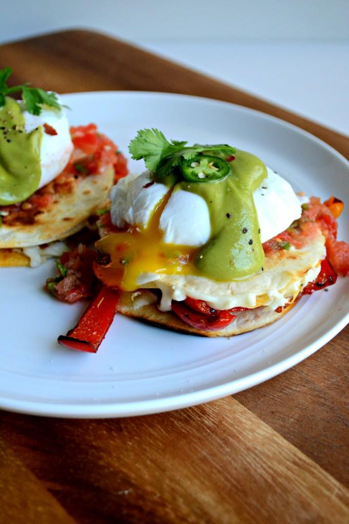 Fajita Vegetable Quesadillas with Poached Eggs and Avocado Hollandaise \\ Sarcastic Cooking