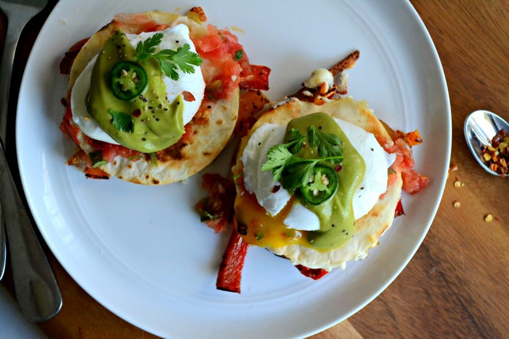 Fajita Vegetable Quesadillas with Poached Eggs and Avocado Hollandaise \\ Sarcastic Cooking