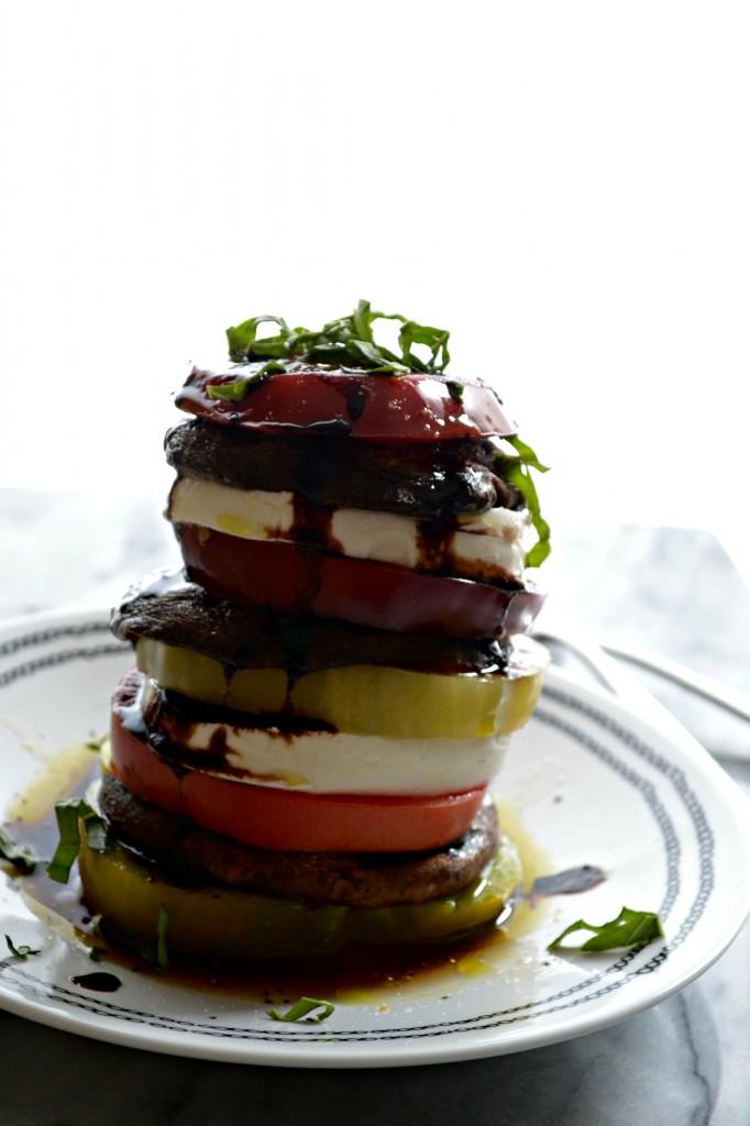 Grilled Portabello and Heirloom Tomato Caprese Stacks