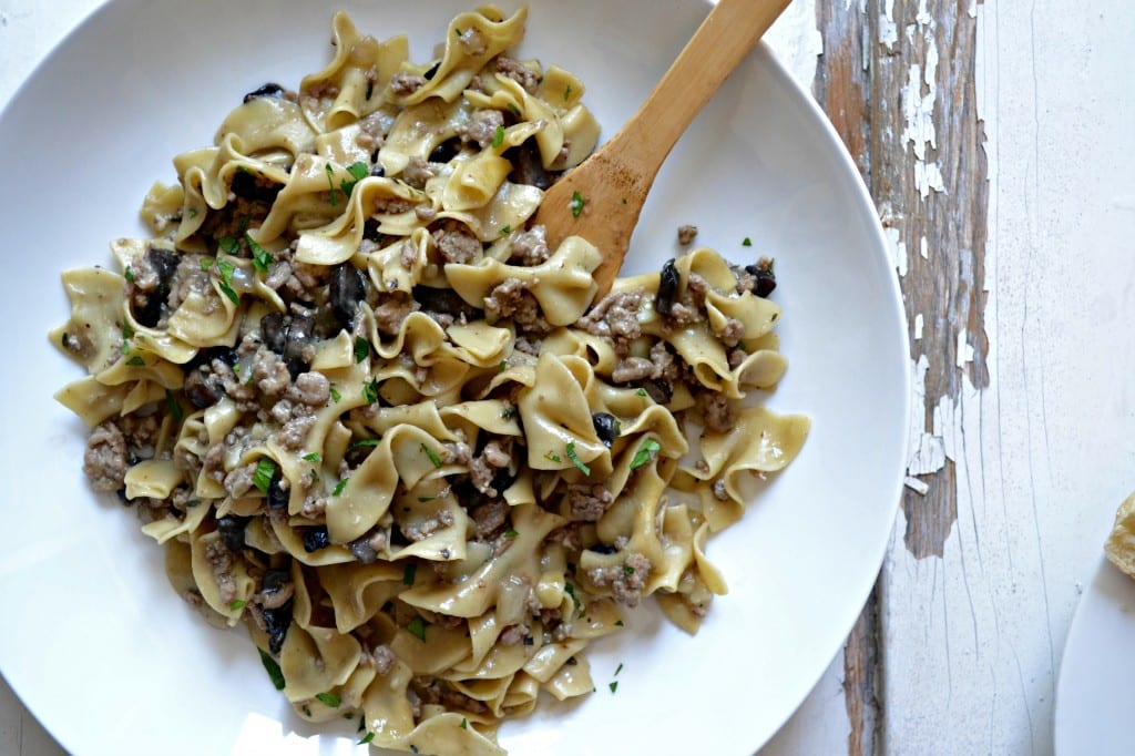 One Skillet Meal: Lighter Turkey and Mushroom Stroganoff