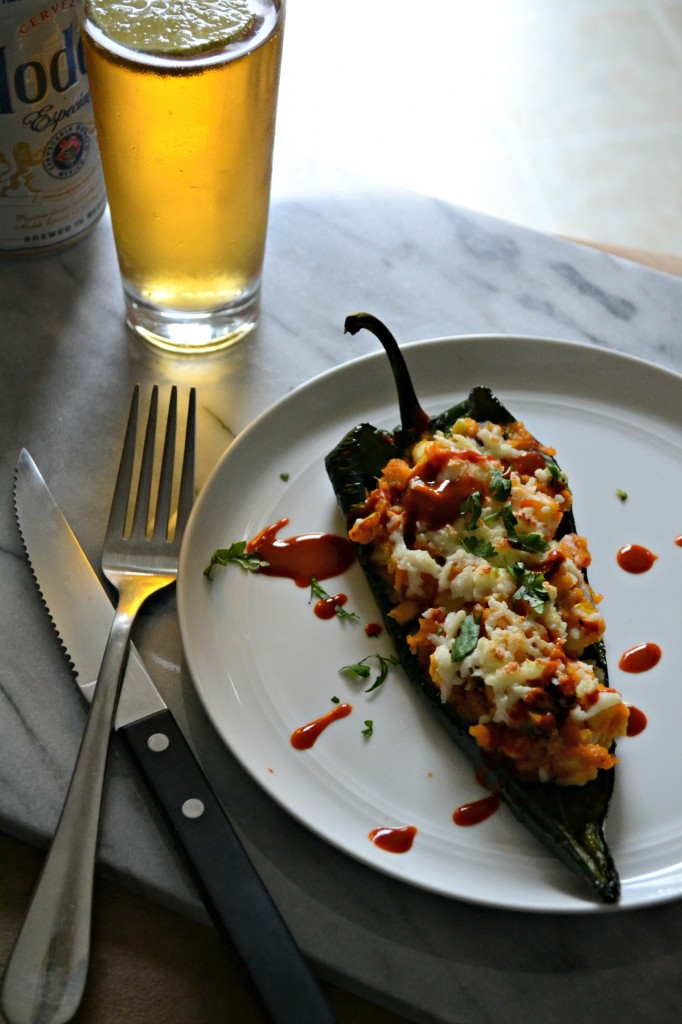 Corn and Sweet Potato Stuffed Poblano Peppers smothered in queso #vegetarian #glutenfree | Sarcastic Cooking
