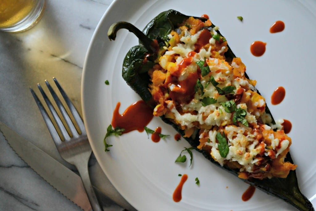 Sweet Corn and Sweet Potato Stuffed Poblano Peppers | Sarcastic Cooking