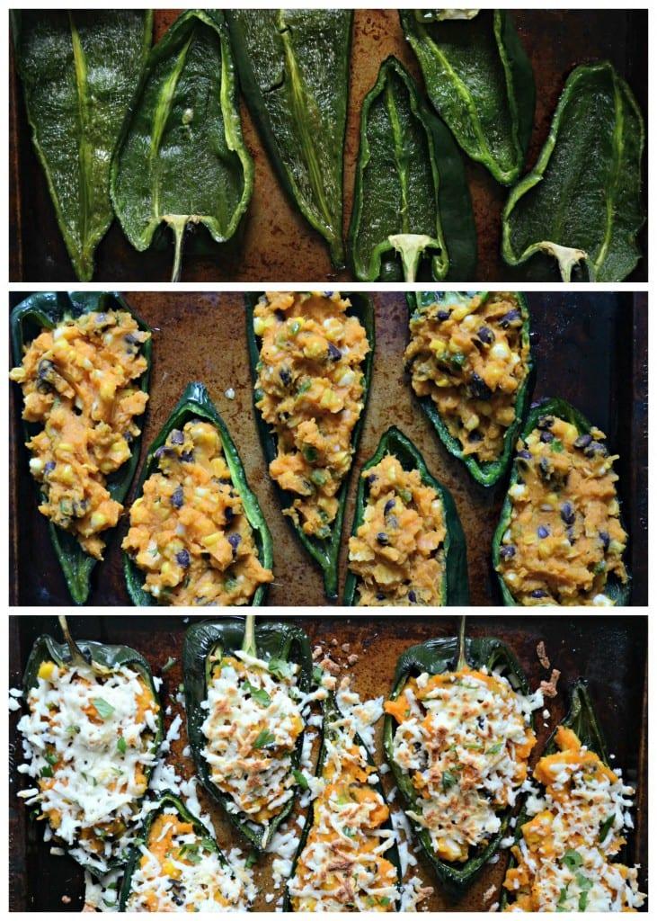 Sweet Corn and Sweet Potato Stuffed Poblano Peppers