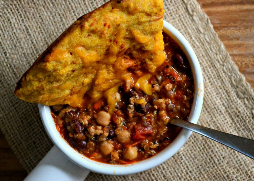 Gluten Free Chipotle Cheddar Pumpkin Cornbread  and Chili