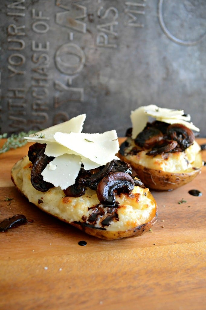 Twice Baked Potatoes with Roasted Mushrooms and Crispy Herbs