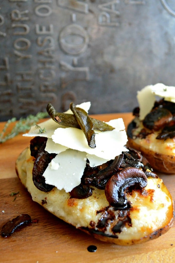 Twice Baked Potatoes with Roasted Herby Mushrooms