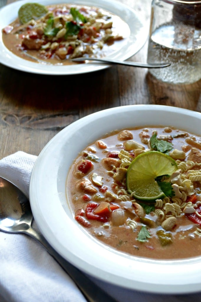 Gluten Free Creamy Slow Cooker  Thai Cashew Chicken Soup