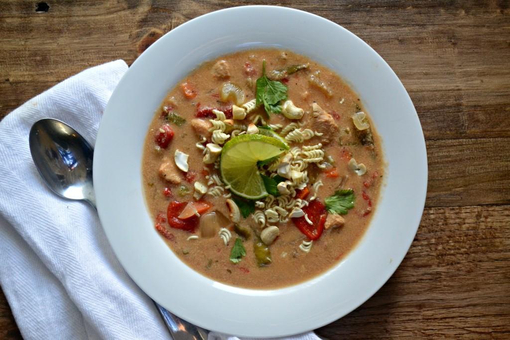 Gluten Free Creamy Slow Cooker Thai Cashew  Chicken Soup -  @sarcasticcook