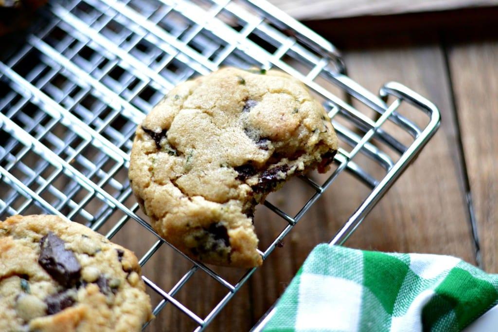 Fresh Mint and Dark Chocolate Chunk Cookies