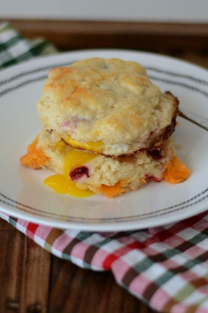 Cheddar Cranberry Biscuit Breakfast Sandwich @sarcasticcook