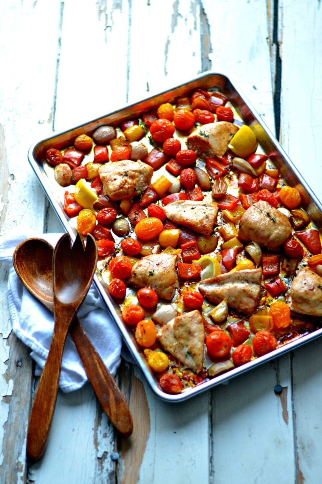 Tray Baked Balsamic Chicken With Peppers Tomatoes And