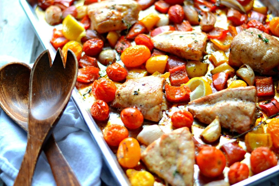 Tray-Baked Balsamic Chicken with Peppers, Tomatoes, and Onions | Sarcastic Cooking
