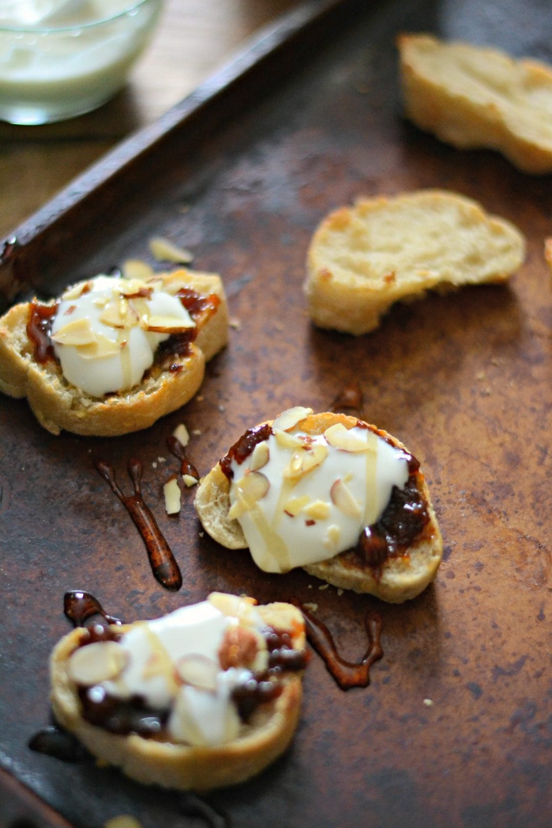 Fig Butter and Honeyed Whipped Goat Cheese Crostini | Sarcastic ...