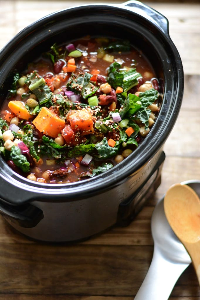Slow cooker vegetarian chili packed with butternut squash, kale, quinoa, beans, and spices!